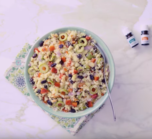 Mediterranean Orange Couscous Salad with Peppermint and Orange Essential Oil