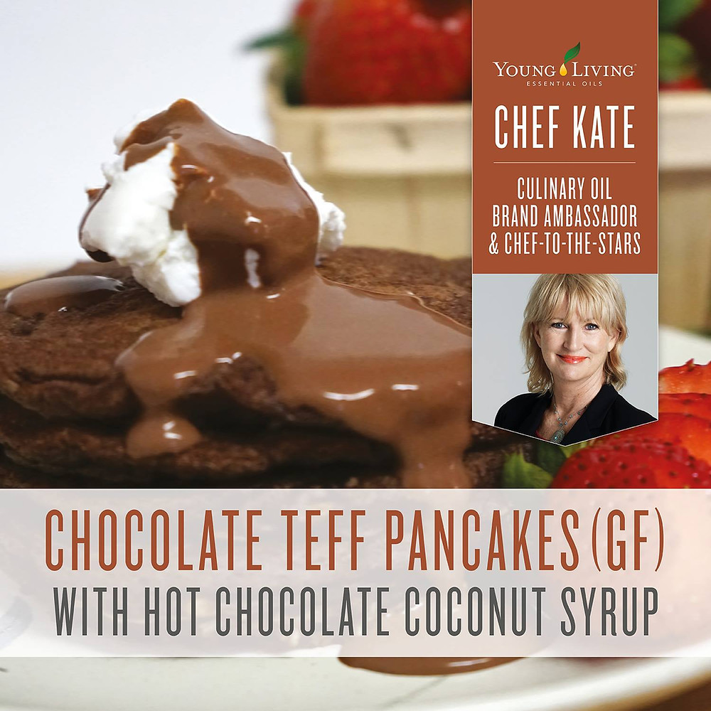 Gluten Free Chocolate Teff Pancakes Recipe with Cinnamon Essential Oil
