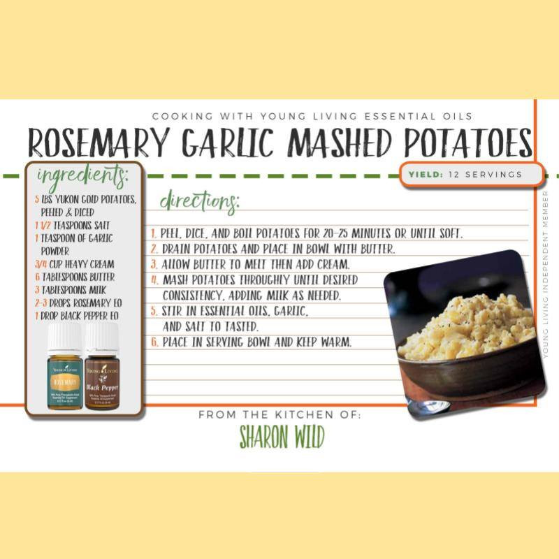 Rosemary Garlic Mashed Potatoes Recipe with Rosemary Essential Oil and Black Pepper Essential Oil