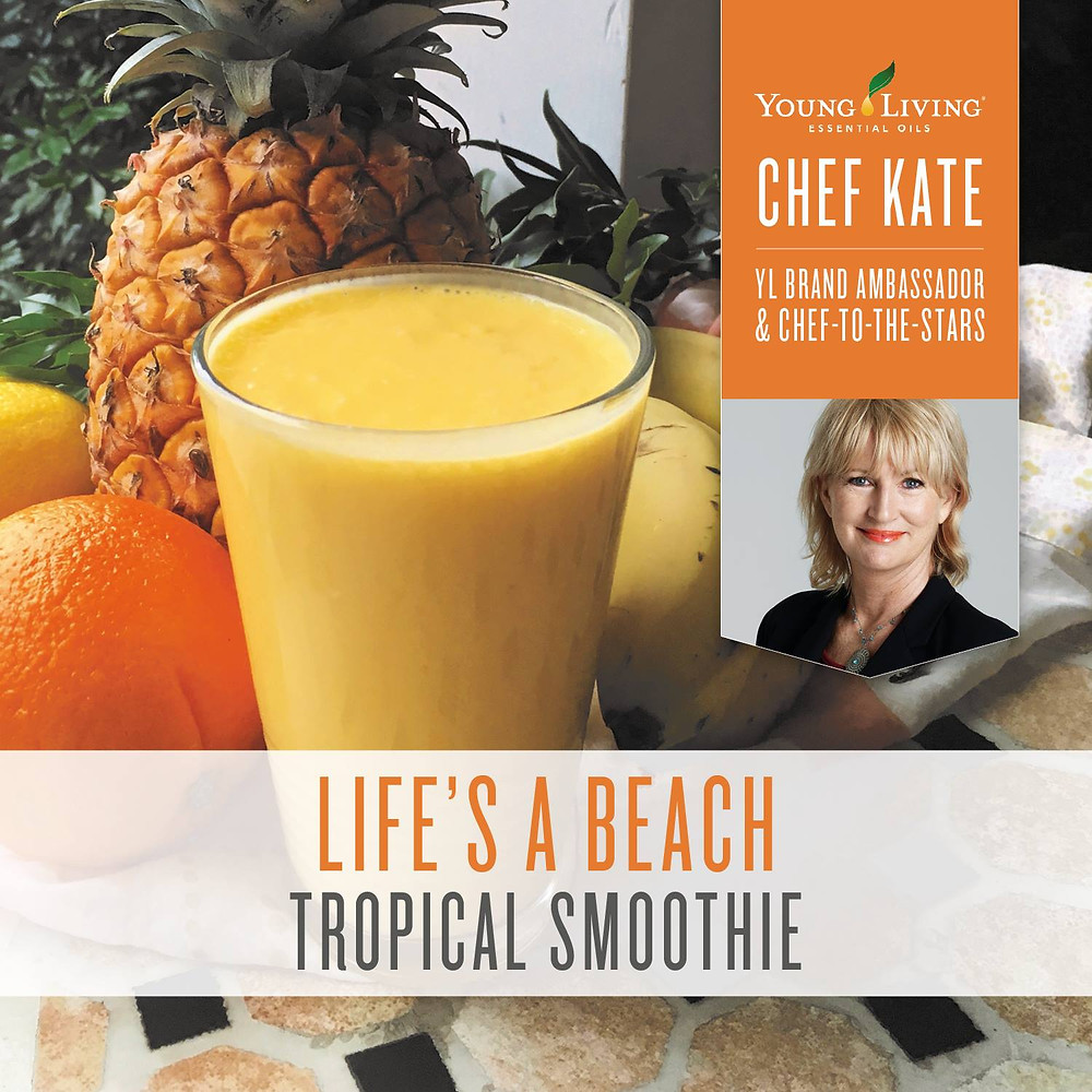 Tropical Smoothie Recipe with Lime, Lemon and Orange Essential Oil
