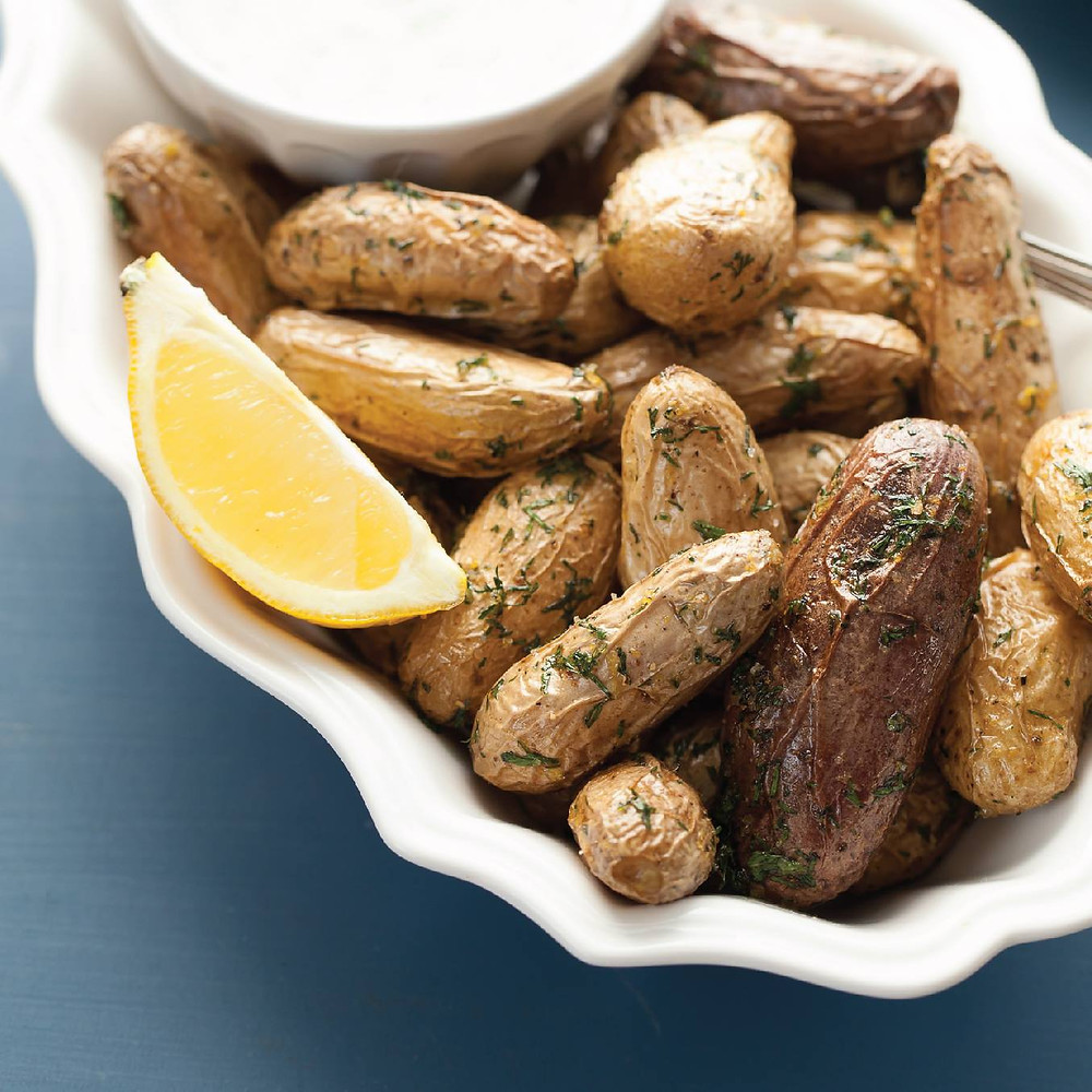 Roasted Baby Potatoes with Lemon Dill Essential Oil Sauce