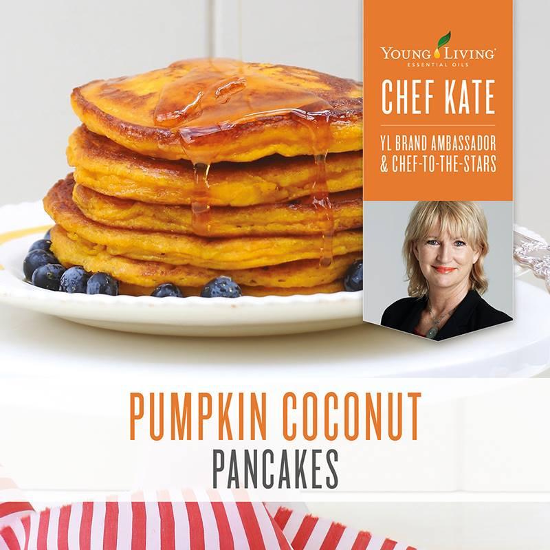 Pumpkin Coconut Pancakes Recipe with Orange and Cinnamon Essential Oil