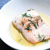 Salmon with Creamy Coconut Herb Sauce with Dill and Lemon Essential Oils