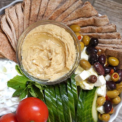 Greek Hummus & Yoghurt Dip Antipasto Recipe with Lemon and Black Pepper Essential Oil