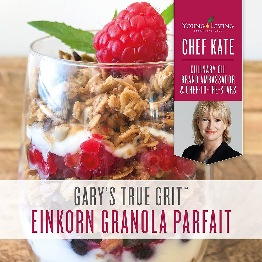 Einkorn Granola Parfait Recipe with Lemon Essential Oil