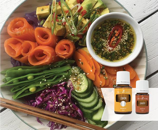 Salmon Poke Bowl Recipe with Lemon, Ginger & Black Pepper Essential Oil