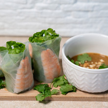 Rice Paper Rolls Recipe and Mint Dipping Sauce with  peppermint, lemon and lime essential oils