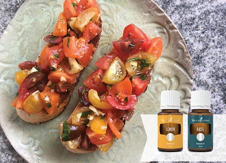 Bruschetta Recipe with Basil and Lemon Essential Oils