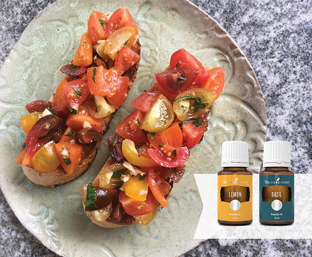 Bruschetta Recipe with Basil and Lemon essential oil