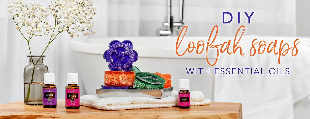 DIY Loofah Recipe with Lavender and Geranium Essential Oils