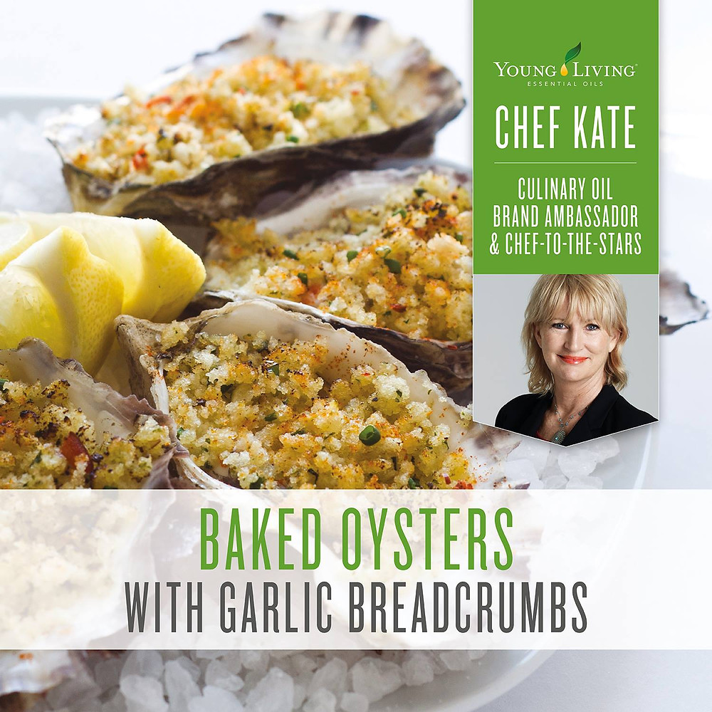 Baked Oysters with Garlic Breadcrumbs Recipe with Lemon Essential Oil