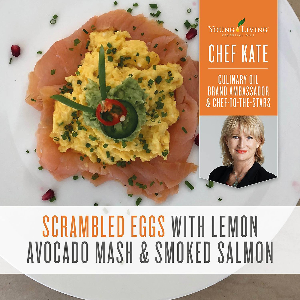 Scrambled Eggs with Lemon Avocado and Smoked Salmon with Black Pepper and Lemon Essential Oil
