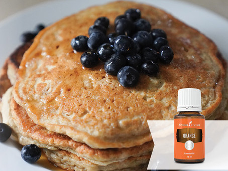 Blueberry Pancakes Recipe with Orange Essential Oils