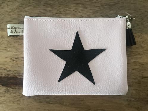 Porte-monnaie rose pale étoile noire pailletée