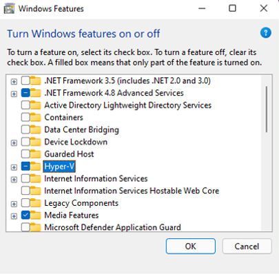 The Windows Features window list displaying Hyper-V with the checkbox enabled and highlighted.
