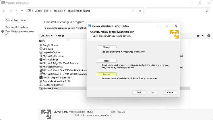 Control Panel with a Virtual Machine program Uninstall wizard showing and the Remove button highlighted.
