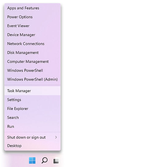 The menu that appears when right-clicking the Start icon, with Task Manager highlighted.