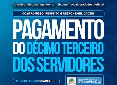 Administração municipal de Nova Alvorada do Sul realiza pagamento do 13° salário para todos os servi