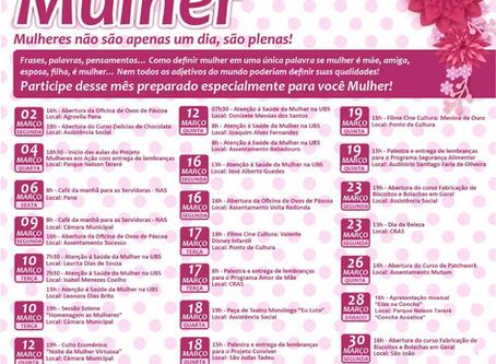 Administração Municipal de Nova Alvorada do Sul, divulga programação do Mês da Mulher.