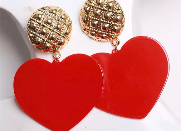 Red And Gold Heart Statement Earrings