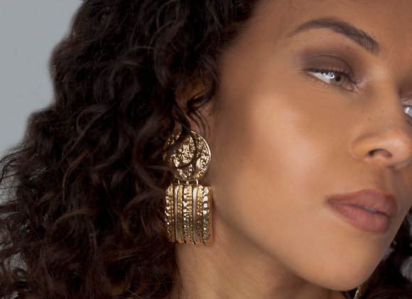 Gold Medallion Drop Earrings
