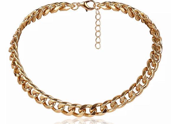 Riah Cuban Flat Link Necklace