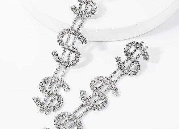 Silver Dollar Drop Earrings
