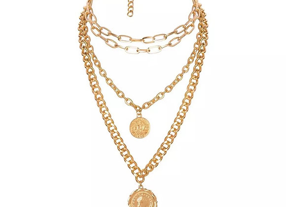 Gold Multi Coin Layering Necklace