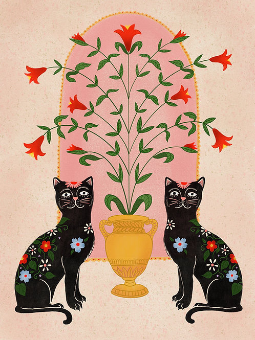 Sister Cats - A3 Print