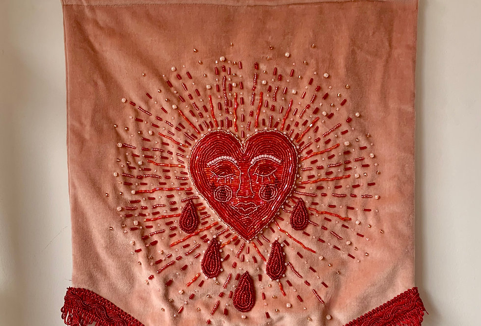 Heavy Heart - Hand embroidered wall hanging