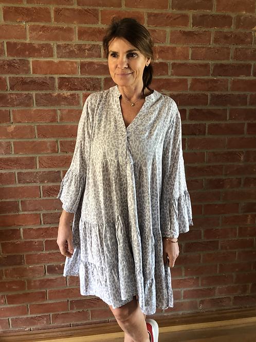 Leopard Print Dress - Pale Grey