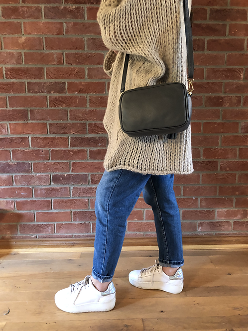 Leather Camera Bag -Grey