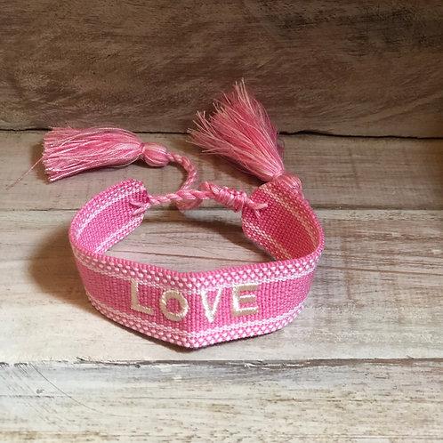 Love Woven Bracelet - Pink