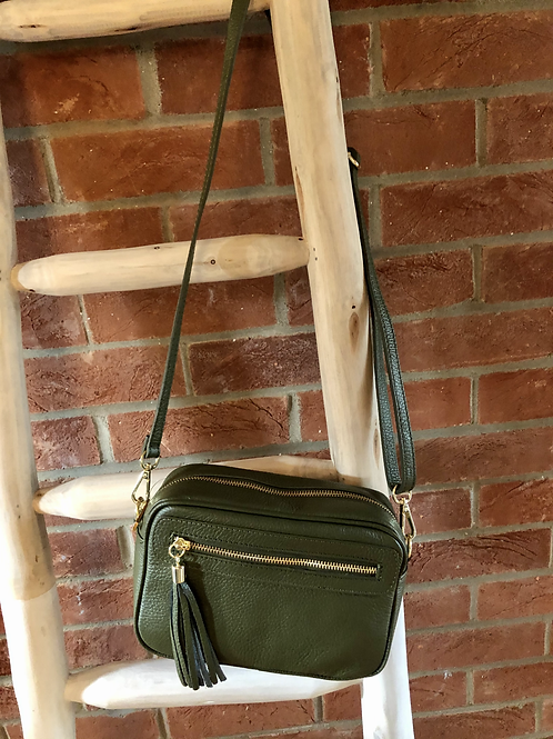 Leather Camera Bag - Olive