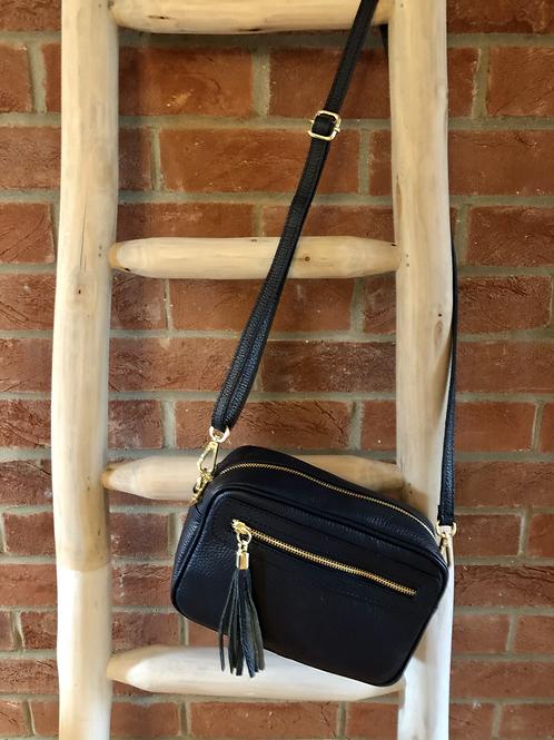 Leather Camera Bag - Navy