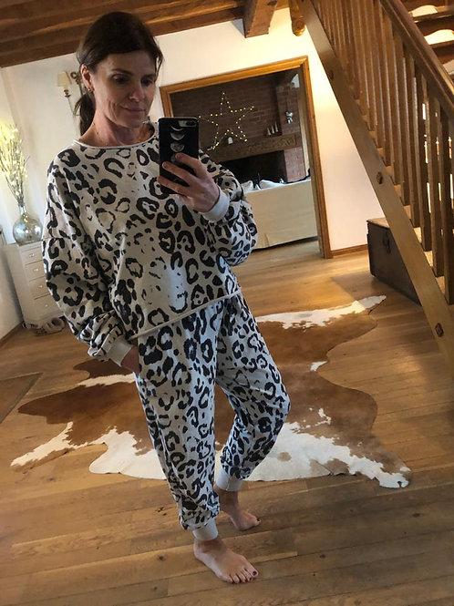 Leopard Print Loungesuit - Beige