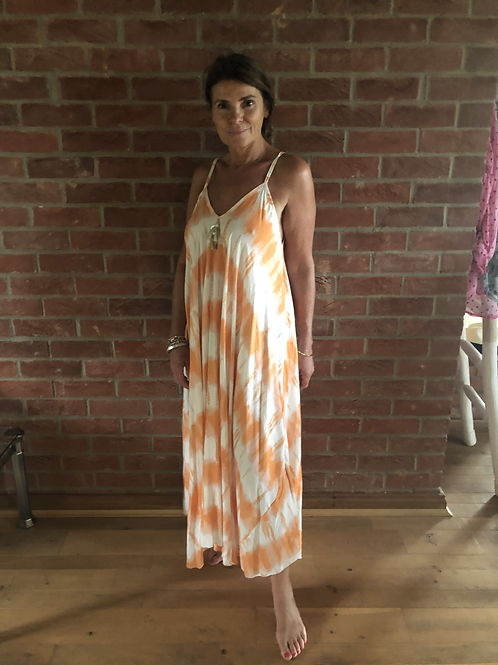 Long Tie Dye Dress - Orange