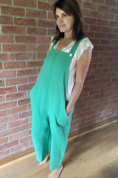 Linen Dungarees - Emerald Green