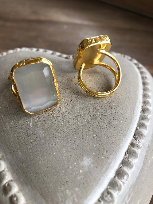 Square Cocktail Ring - Pale Grey