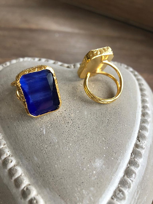 Square Cocktail Ring - Cobalt