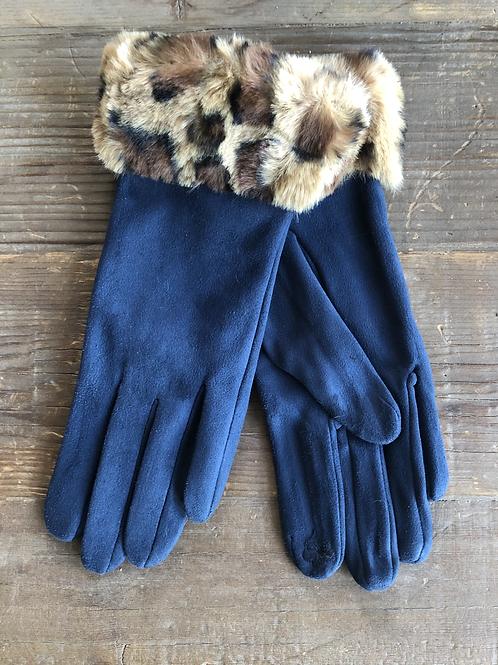 Leopard Cuff Gloves -Navy