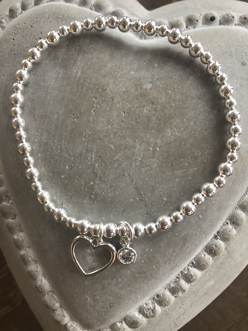 Open heart and diamante charm bracelet