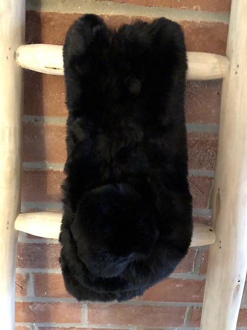 Faux Fur Pom Pom Neck Scarf - Black