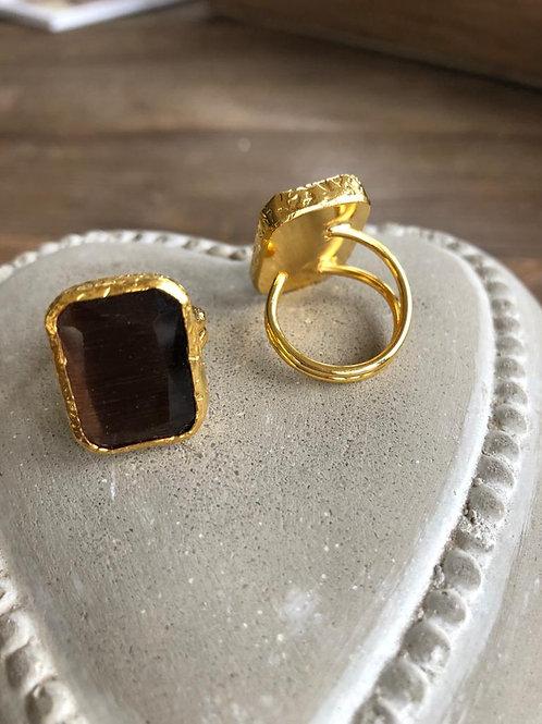 Square Cocktail Ring - Dark Brown