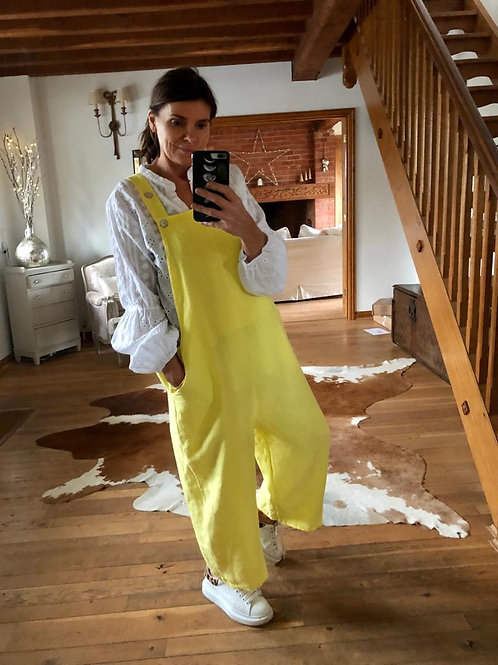 Linen Dungarees - Yellow