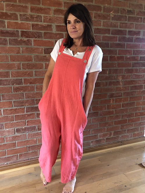 Linen Dungarees - Coral