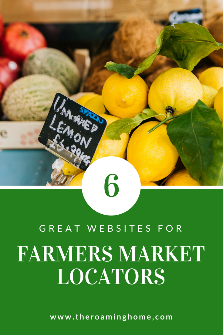 6 Great Websites to help you locate farmers markets near you as you travel in your rv, motorhome or tiny house.