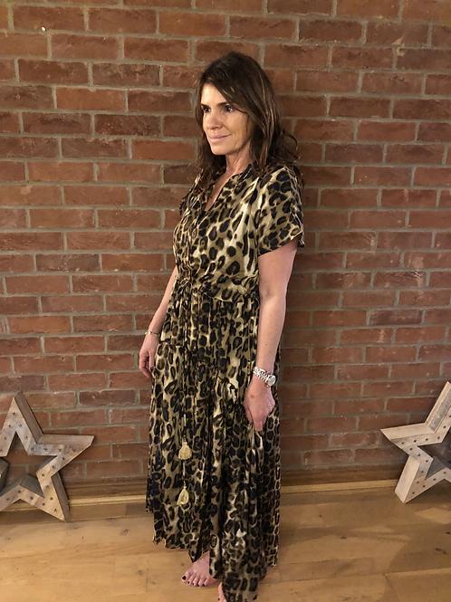 Leopard Print Drawstring Dress