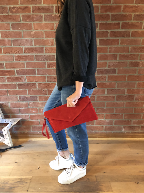 Suede Clutch - Red
