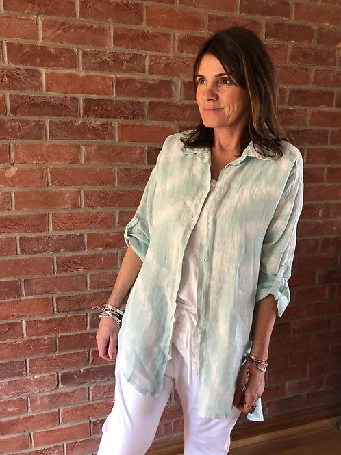 Tie-Dye Linen Shirt - Aqua